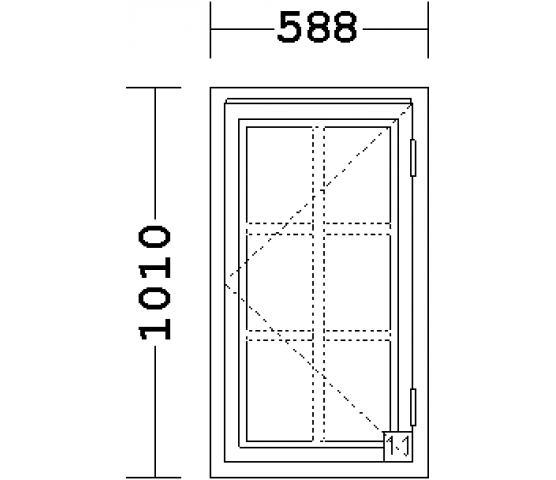 Lillvindu 2x3 aluspr. 1-fag sidehenglset hvit 59 x 101  høyre
